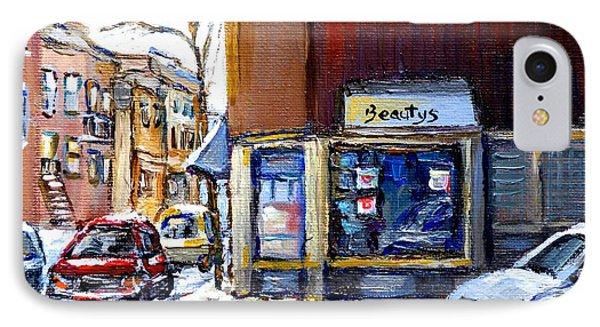 Winter At Beauty's Restaurant City Scene Landmark Paintings Montreal Memories Exceptional Canada Art IPhone Case