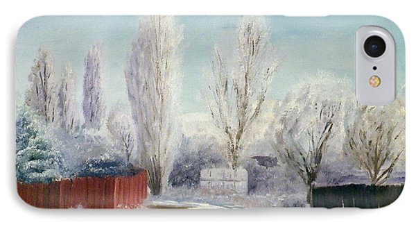 IPhone Case featuring the painting Winter At Bonanza by Sherril Porter