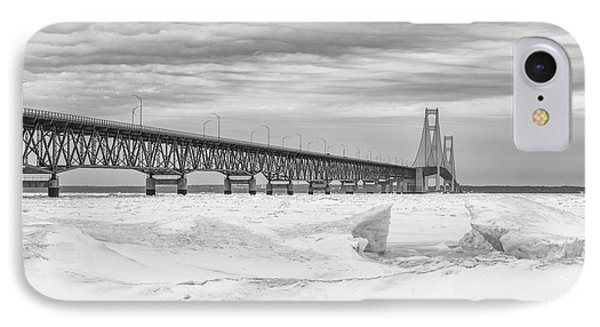 IPhone Case featuring the photograph Winter At Mackinac Bridge by John McGraw