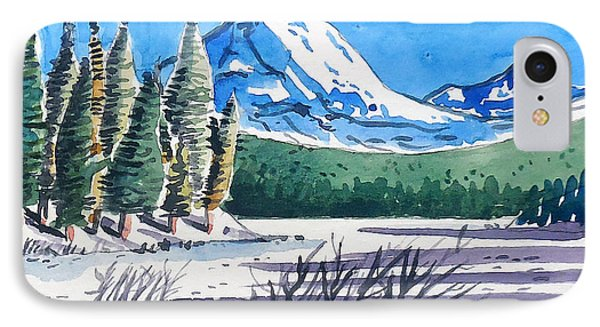 IPhone Case featuring the painting Winter At Mt. Lassen by Terry Banderas