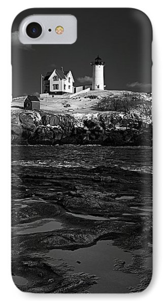 Winter At Nubble Lighthouse Bw IPhone Case by David Smith
