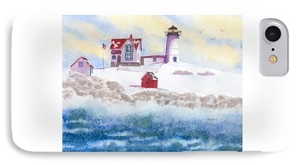 Winter At Nubble Lighthouse  IPhone Case by Roseann Meserve