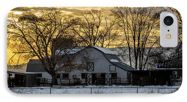 Winter Barn At Sunset - Provo - Utah IPhone Case by Gary Whitton