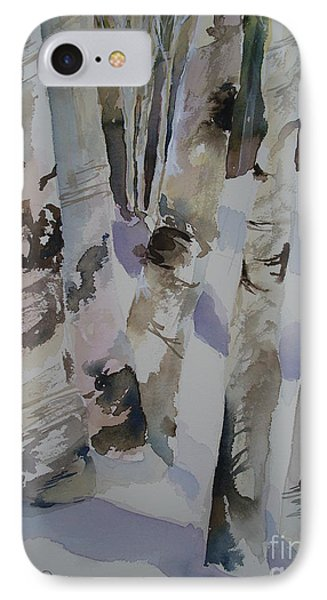 IPhone Case featuring the painting Winter Birches by Sandra Strohschein