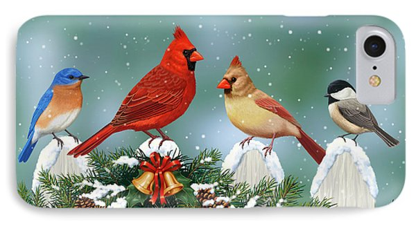 Winter Birds And Christmas Garland IPhone Case
