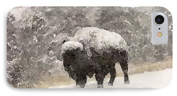 IPhone Case featuring the digital art Winter Bison by Walter Chamberlain