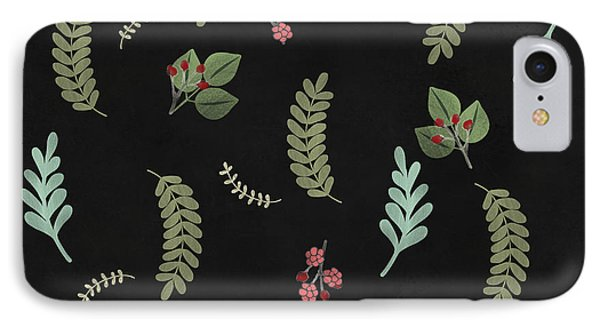 Winter Botanical Leaves, Berries, Nature IPhone Case by Tina Lavoie
