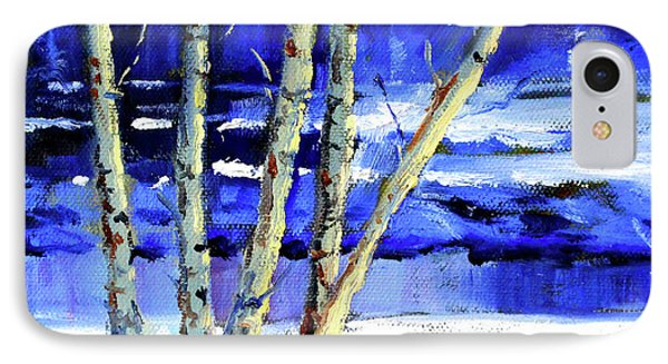 IPhone 7 Case featuring the painting Winter By The River by Nancy Merkle