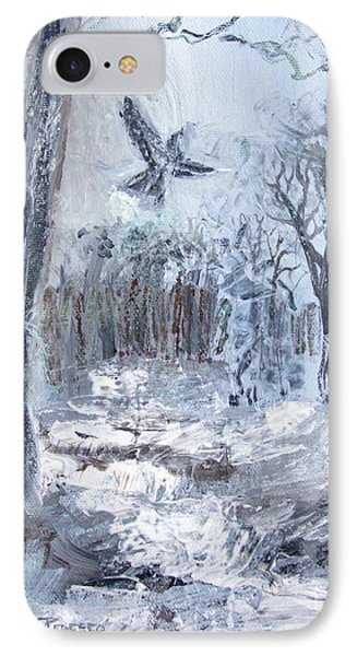 IPhone Case featuring the painting Winter Caws by Robin Maria Pedrero