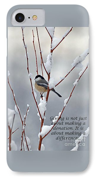 IPhone Case featuring the photograph Winter Chickadee Giving by Diane E Berry