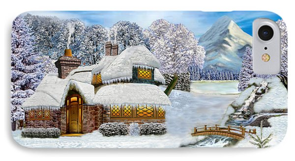 Winter Country Cottage IPhone Case by Glenn Holbrook