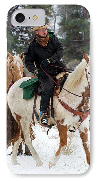 Winter Cowboy IPhone Case by Mike Dawson