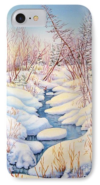 IPhone Case featuring the painting Winter Creek 1  by Inese Poga