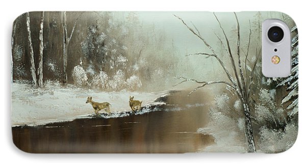 IPhone Case featuring the painting Winter Deer Run by Chris Fraser