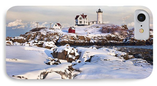Winter Evening At Nubble Lighthouse IPhone Case by Eric Gendron