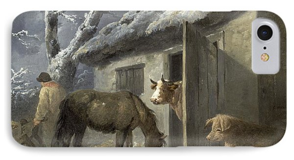 Winter Farmyard Phone Case by George Morland