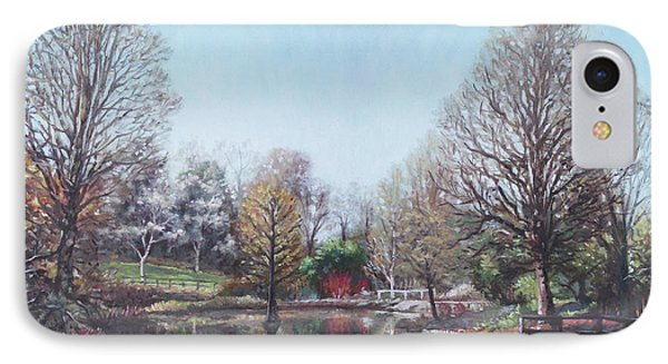 IPhone Case featuring the painting Winter Hilliers Garden Hampshire by Martin Davey