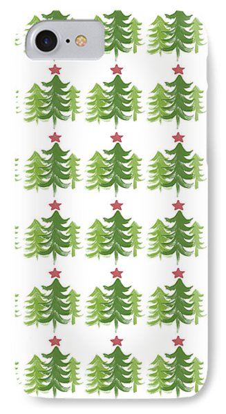 Winter Holiday Trees 1-  Art By Linda Woods IPhone Case by Linda Woods