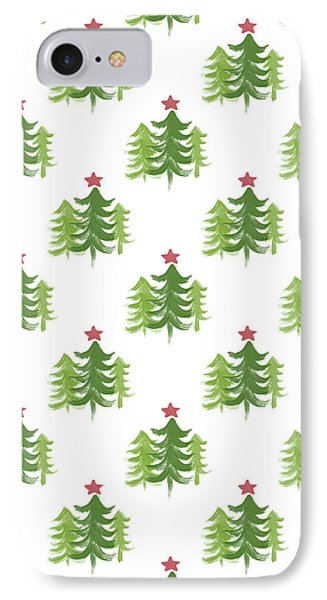 Winter Holiday Trees 2- Art By Linda Woods IPhone Case by Linda Woods