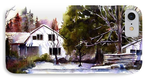 IPhone Case featuring the painting Winter Homestead by Marti Green