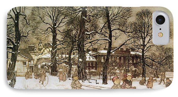 Winter In Kensington Gardens IPhone Case by Arthur Rackham