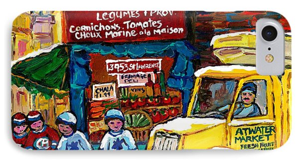 Winter In The City Montreal Memories Jewish Landmark Simcha's Fruit Store Canadian Hockey Art  IPhone Case by Carole Spandau