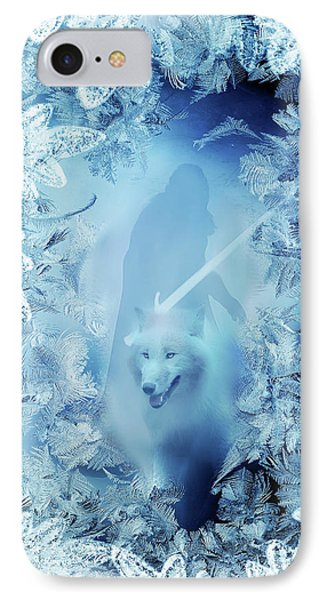 Winter Is Here - Jon Snow And Ghost - Game Of Thrones IPhone Case by Lilia D