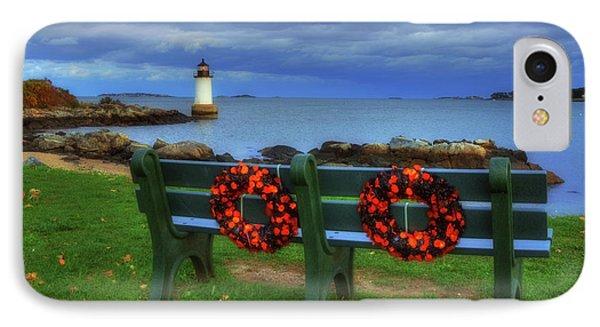 Winter Island Lighthouse IPhone Case by Joann Vitali