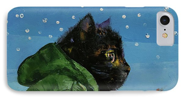 Winter Kitten IPhone Case by Michael Creese