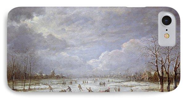 Winter Landscape IPhone Case by Aert van der Neer