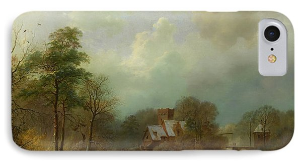 IPhone Case featuring the painting Winter Landscape - Holland by Barend Koekkoek