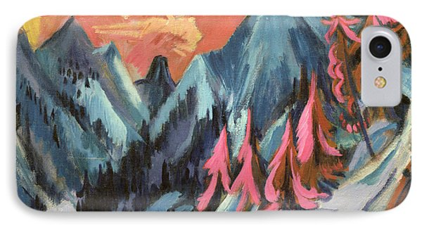 Winter Landscape In Moonlight IPhone Case by Ernst Ludwig Kirchner