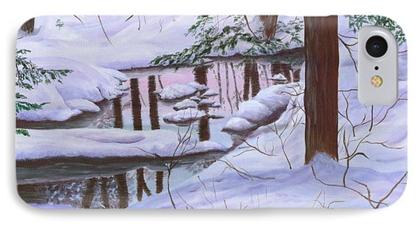 IPhone Case featuring the painting Winter Landscape by Judy Filarecki