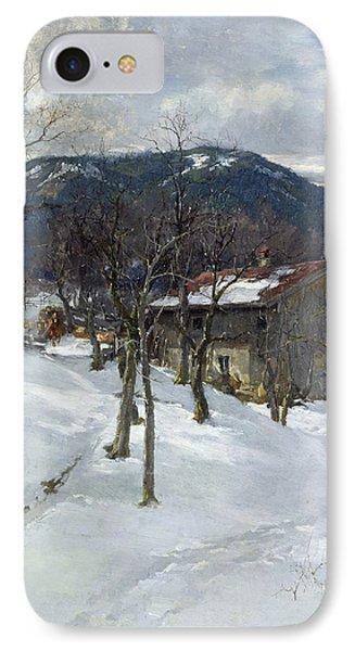 Winter Landscape Near Kutterling Phone Case by Johann Sperl