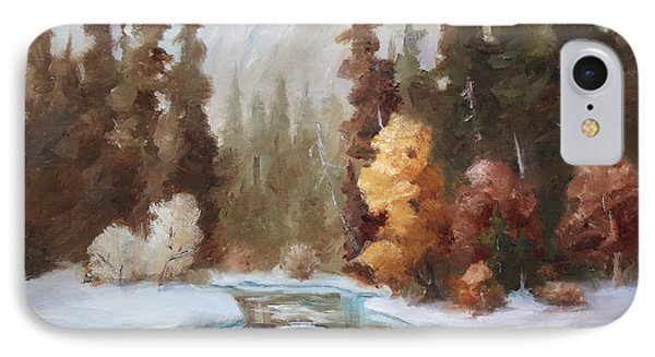 Winter Landscape Original Oil Painting IPhone Case by Brenda Thour