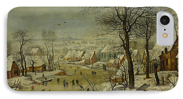 Winter Landscape With A Bird Trap IPhone Case by Pieter Brueghel the Younger