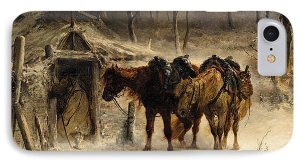 Winter Landscape With A Huntsman And Horses IPhone Case by Celestial Images