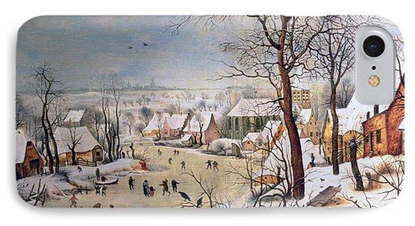 Winter Landscape With Birdtrap Phone Case by Pieter the elder Bruegel