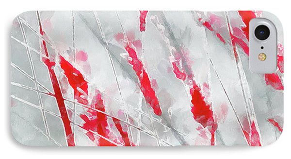 IPhone Case featuring the painting Winter Moods 1 - Cardinal Red And Icy Gray Nature Abstract by Menega Sabidussi