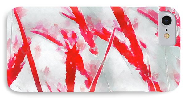 IPhone Case featuring the painting Winter Moods 2 - Winterberry Red And Snowy White Nature Abstract by Menega Sabidussi