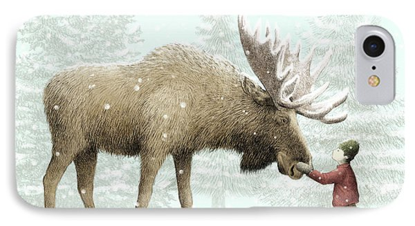 Winter Moose IPhone Case by Eric Fan