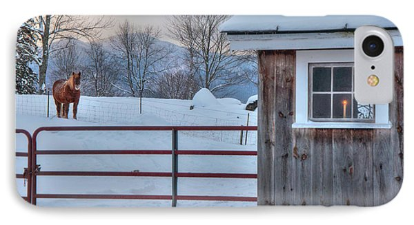 Winter Morning - Barn In Snow IPhone Case by Joann Vitali
