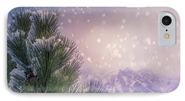 Winter Mountain Scene With Snow Falling  IPhone Case
