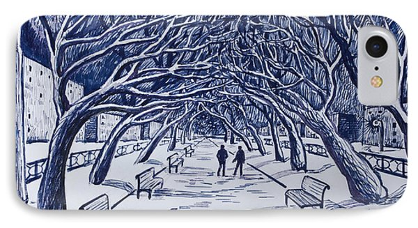 Winter Night.on The Walkway In The Park. IPhone Case by Olga Goncharenko