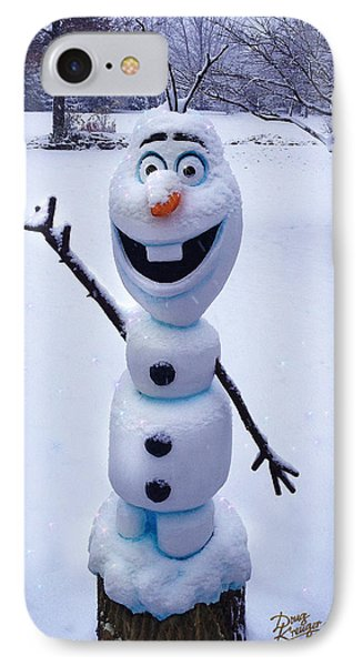 IPhone Case featuring the sculpture Winter Olaf by Doug Kreuger