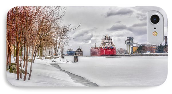 Winter Owen Sound Harbour IPhone Case by Irwin Seidman