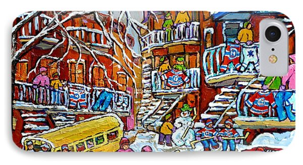 Winter Playground Staircase Scene Balconville Hockey Sweaters Wash Day Montreal Memories C Spandau IPhone Case by Carole Spandau