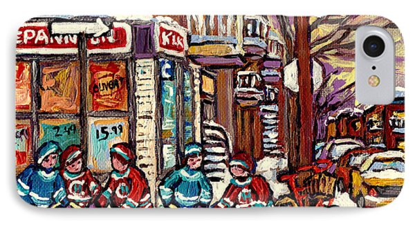 Winter Scene Hockey Painting Verdun Depanneur Kik Cola Bicycle Montreal Canadian Art Carole Spandau  IPhone Case by Carole Spandau