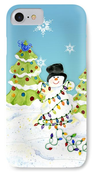 Winter Snowman - All Tangled Up In Lights Snowflakes IPhone Case