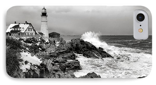 Winter Storm At Portland Head IPhone Case by Olivier Le Queinec